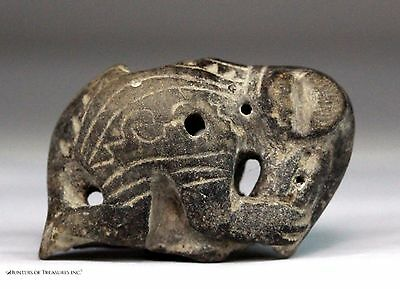 104) Ancient Pre Columbian Jamacoaque Whistle Ceramic Anteater Pendant