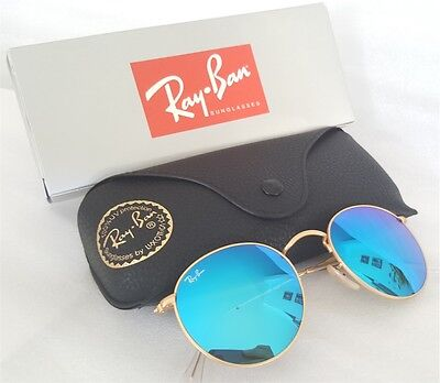 New Ray-Ban Blue Mirror Lenses ROUND Metal Matte Gold RB 3447 112/17 Sunglasses