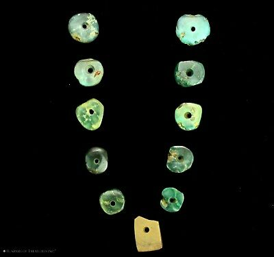 108) 11 Small Ancient Pre Columbian Moche or Chimu Mosaic Turquoise Discs Beads