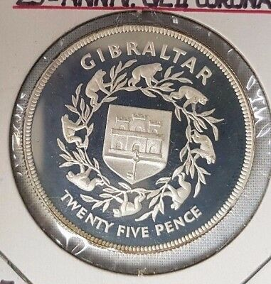 1977 Gibraltar - 25th Anniversary QEII Coronation - Proof .925 silver - Coin