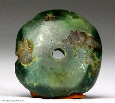 111) Ancient Pre Columbian Moche or Chimu Mosaic Turquoise Stone Disc Bead 15 mm