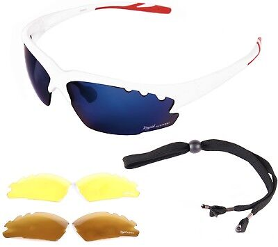 ed7a38d1221 SPORTS   CRICKET SUNGLASSES Mens  Womens  White  Interchangeable Mirrored  Lenses