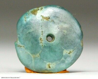 115) Ancient Pre Columbian Moche or Chimu Mosaic Turquoise Stone Disc Bead 16 mm