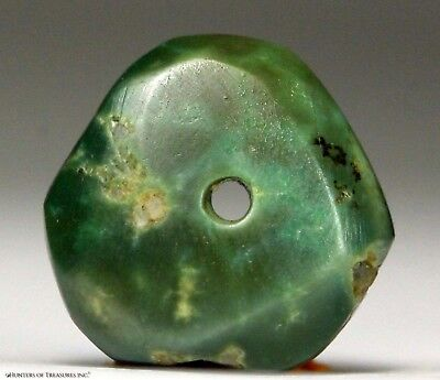 116) Ancient Pre Columbian Moche or Chimu Mosaic Turquoise Stone Disc Bead 20 mm
