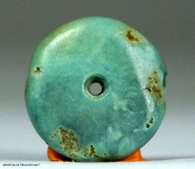 121) Ancient Pre Columbian Moche or Chimu Mosaic Turquoise Stone Disc Bead 15 mm