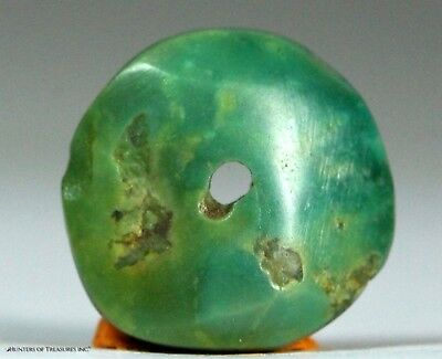 122) Ancient Pre Columbian Moche or Chimu Mosaic Turquoise Stone Disc Bead 14 mm