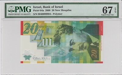 ISRAEL, Bank Of Israel  2008, P#64a 20 New Sheqalim . PMG 67 EPQ .Superb Gem UNC