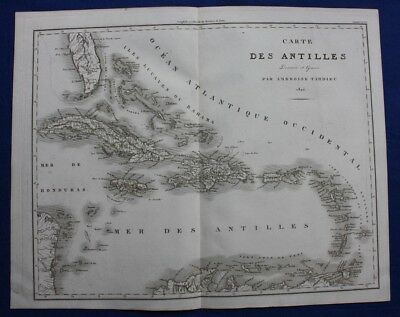 Original antique map, ANTILLES, CUBA, JAMAICA, BAHAMAS, FLORIDA, Tardieu, 1822