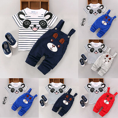 Infant Toddler Baby Girls Boys Short Sleeve Cartoon Bear Overalls Summer Outfits