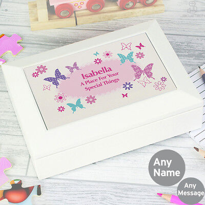 PERSONALISED Keepsake Box, BUTTERFLY. Girls Jewellery / Trinket / Memory Box