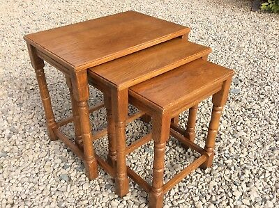 Vintage Solid Golden Oak Nest Of 3 Tables. Solid And Sturdy. Shabby Chic / Paint