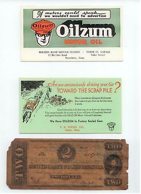 2 Vintage Oilzum Motor Oil Ink Blotters & Confederate Note Oilzum Coupon