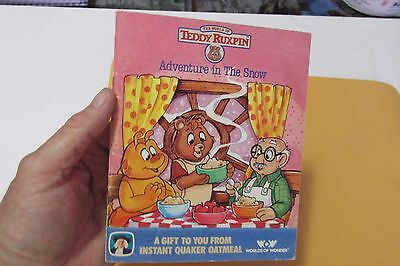 """1987 Teddy Ruxpin """" Adventure In The Snow"""" Gift From Quaker Oatmeal"""
