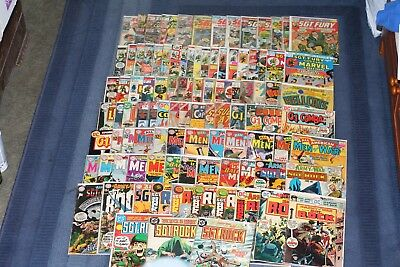Huge Lot of Nearly 100 Silver/Bronze Age DC/Marvel War Comic Lot