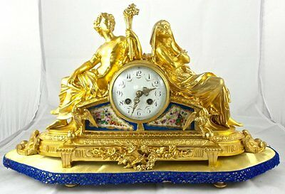 Antique 19th c French mantel clock figural gilt ormolu bronze & Sevres porcelain