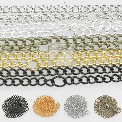 "50cm/20"" Curb Chain Necklace Making 3x2x0.5mm/4.5x2.8x0.65mm 5 Colors"
