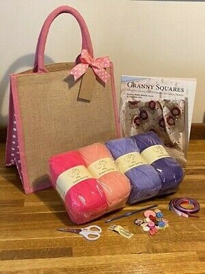 Complete Bumper Crochet Kit With Granny Squares Book & Jute Gift Bag Free Uk P&P