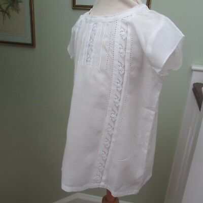 Antique/Vintage Beautiful Fine Linen Girl's Blouse with Lace Inserts & Pleating