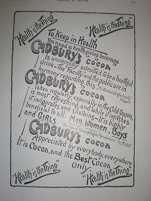 Cadbury's Cocoa Health is the Thing old advert 1901
