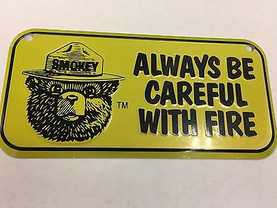 Yellow Smokey Bear Metal tin sign license