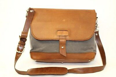 Pad & Quill Canvas & Leather Laptop Messenger Bag Handmade in Leon Mexico gr