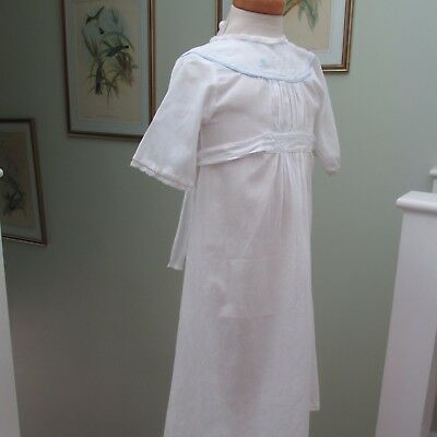 Antique/Vintage Baby Gown, With Blue Embroidered Duck & Lace Trim