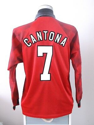 CANTONA #7 Manchester United Long Sleeve Home Football Shirt Jersey 1996/97 (L)
