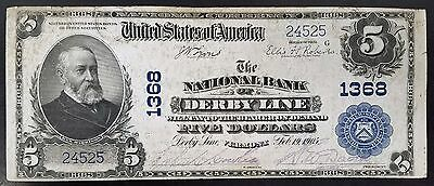 Series 1902 $5.00 National Currency from The National Bank of Derby Line, VT!