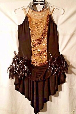 Adult Dance Costume Sz L Black with Gold and Silver Accents
