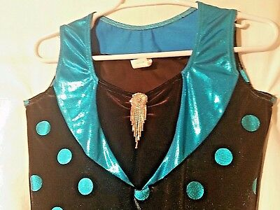 Turquoise and Black adult size large Flapper Style Dance Costume