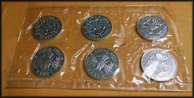 Six - 1993 Russia 3 Rouble SILVER Ballerina coins Original Cello Wrap Sheet