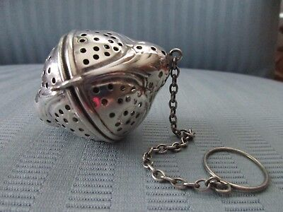 "TEA BALL Infuser Sterling Silver .925 Unusual LEMON Shape Large 2"" No Mono"