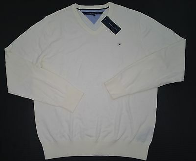 NWT Men's Tommy Hilfiger Pullover Sweater  V-Neck Off White Ivory L XL XXL