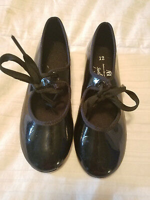 Girls Black Tap Shoes - Child's size 12