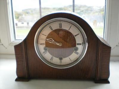 Early 1950s Smiths Enfield 8 Day Westminster Chime Mantle Clock w Key & Pendulum