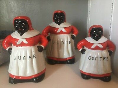 Ceramic Aunt Jemima Coffee Flour Sugar Pancakes Vintage Antique Kitchenware