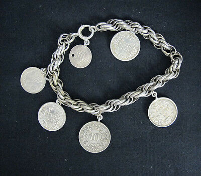 Antique 19th c Silver Coin Charm Bracelet~1857 US 3 Cent Coin~1889 3 Pence yqz