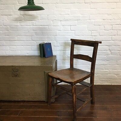 Industrial Vintage Wooden Antique Chapel Church Pew Farmhouse Dining Chair