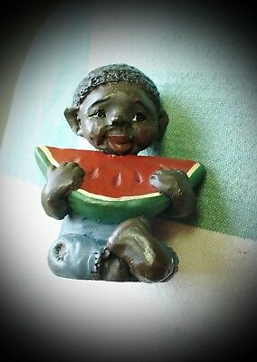 "Black Americana Figurine ""Willie"" with Watermelon"