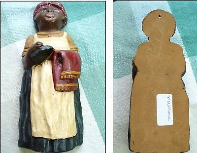 Black Americana Figurine  mamy in kerchief holding iron and towel