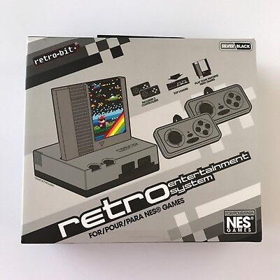 Retro Bit Home Entertainment System Computer Portable NES Game Silver/black