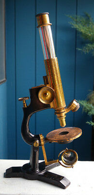 "Bausch & Lomb Antique Brass Double Pillar Microscope ""the Model"" W/case C-1890"