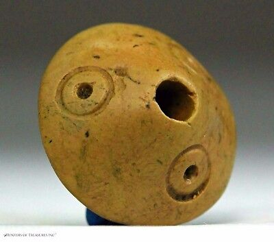 """171) Pre Columbian Moche Chimu Indian Stone Spindle Whorl """"Eyes"""" Bead Artifact"""