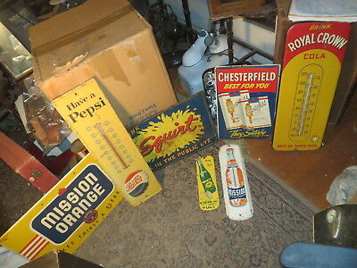 Amazing Lot of 7 Vintage Advertising Signs & Thermometers  Beer,Ciggies,Soda!