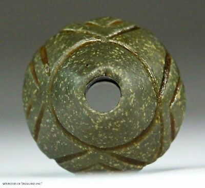 178) Ancient Pre Columbian Moche Chimu Indian Stone Spindle Whorl Bead Artifact