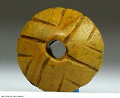179) Ancient Pre Columbian Moche Chimu Indian Stone Spindle Whorl Bead Artifact