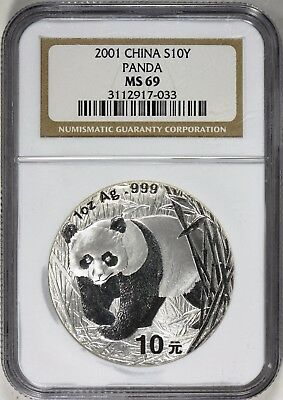 CHINA 1 oz. SILVER PANDA - 2001 NGC MS 69, OUTSTANDING - NO RESERVE AUCTION