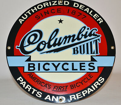 """ANDE ROONEY Columbia Built Bicycles Porcelain Sign USA 11 1/4"""" Round"""