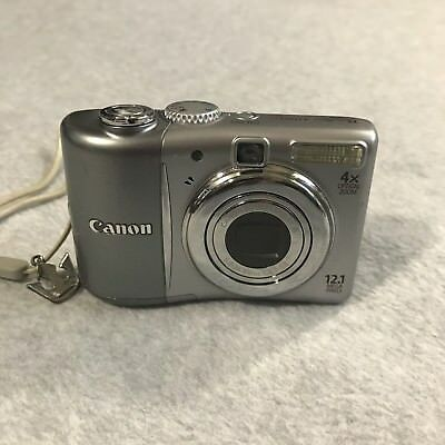 Canon PowerShot A1100 IS 12.1MP Digital Camera 4x zoom Silver Tested