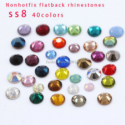 Clear White Ss8 Point Back Rhinestones Gems Glass Chatons Strass Nail Art Craft Gems Jewelry & Accessories